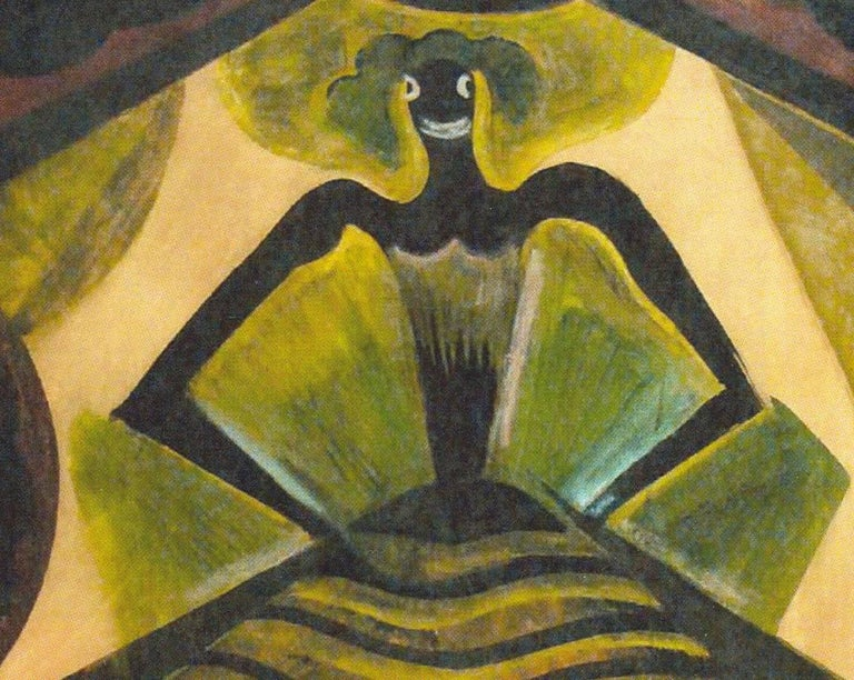 Hugó Scheiber Theater Scene with a Dancer, Gouache ca. 1920 - Brown Figurative Painting by Hugó Scheiber