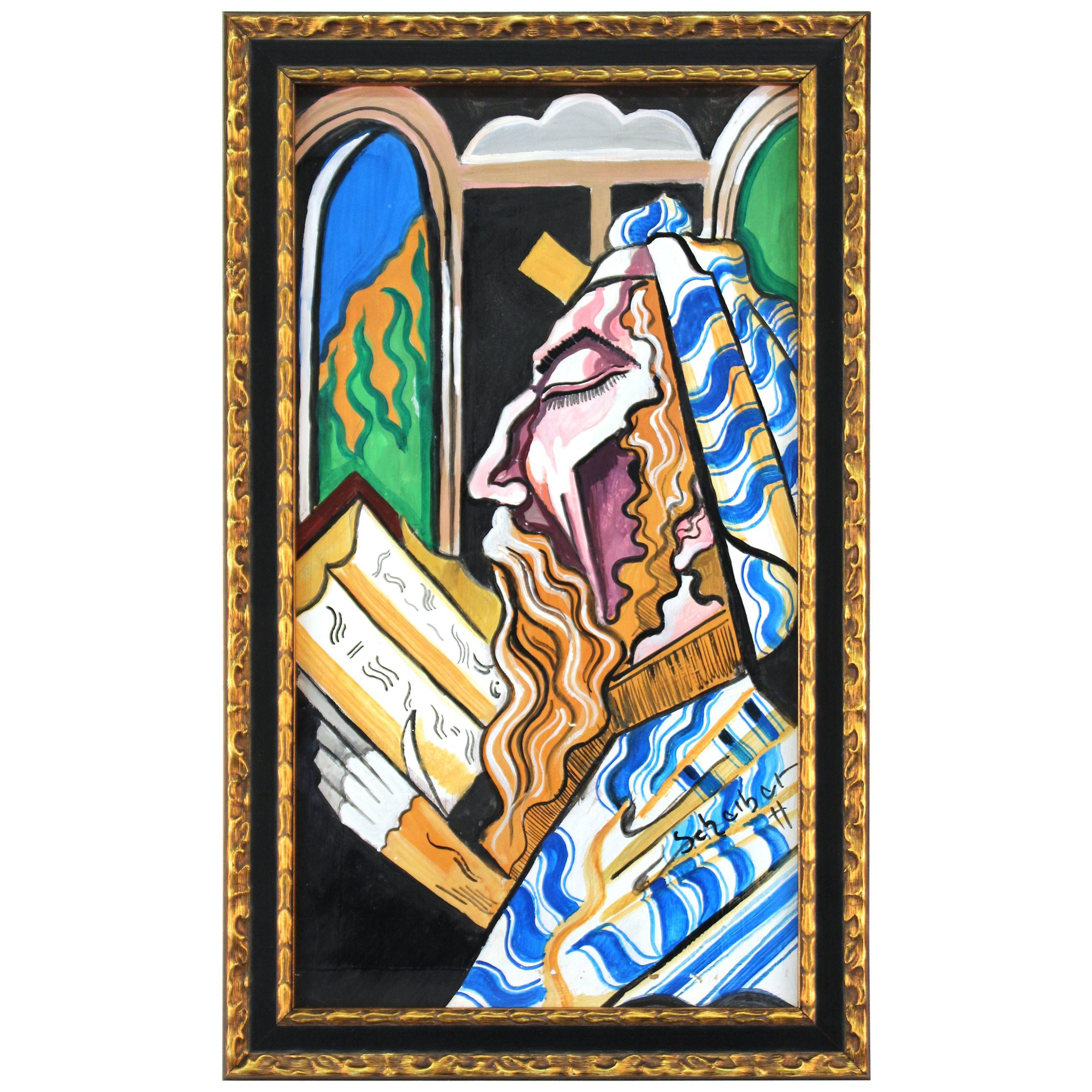 Rabbinical Judaica Expressionist Portrait Painting Attributed to Hugo Scheiber
