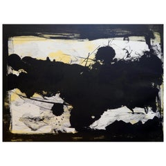 "Hugo Weber Original Abstract Color Lithograph Titled ""Black Print"", 1964"