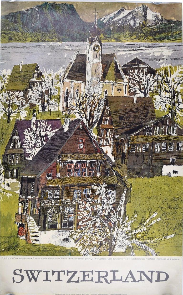 Original Poster - Hugo Wetli: Spring on Lake Lucerne - Print by Hugo Wetli