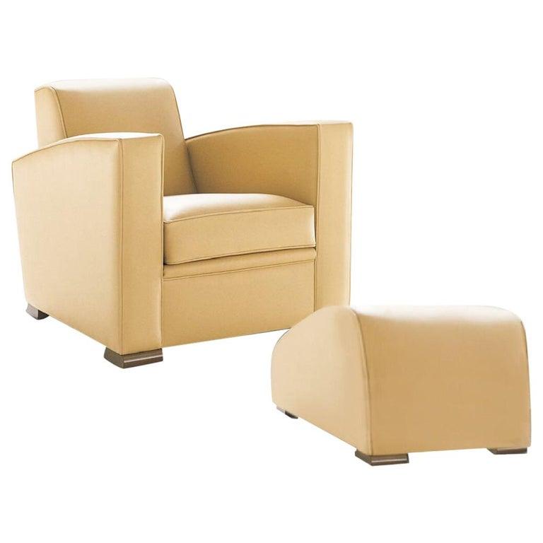 Fabulous Hugues Chevalier Citizen Leather Armchair Yang Ottoman Set French Postmodern Uwap Interior Chair Design Uwaporg