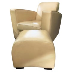 Hugues Chevalier Citizen Leather Armchair and Yang Ottoman Set Clearance