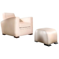 Hugues Chevalier Citizen Leather Armchair & Yang Ottoman Set, Beige Yellow 2012