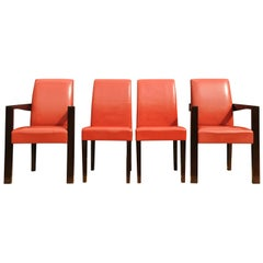 Hugues Chevalier of Paris, France set of four Red leather Ying Bridge chairs