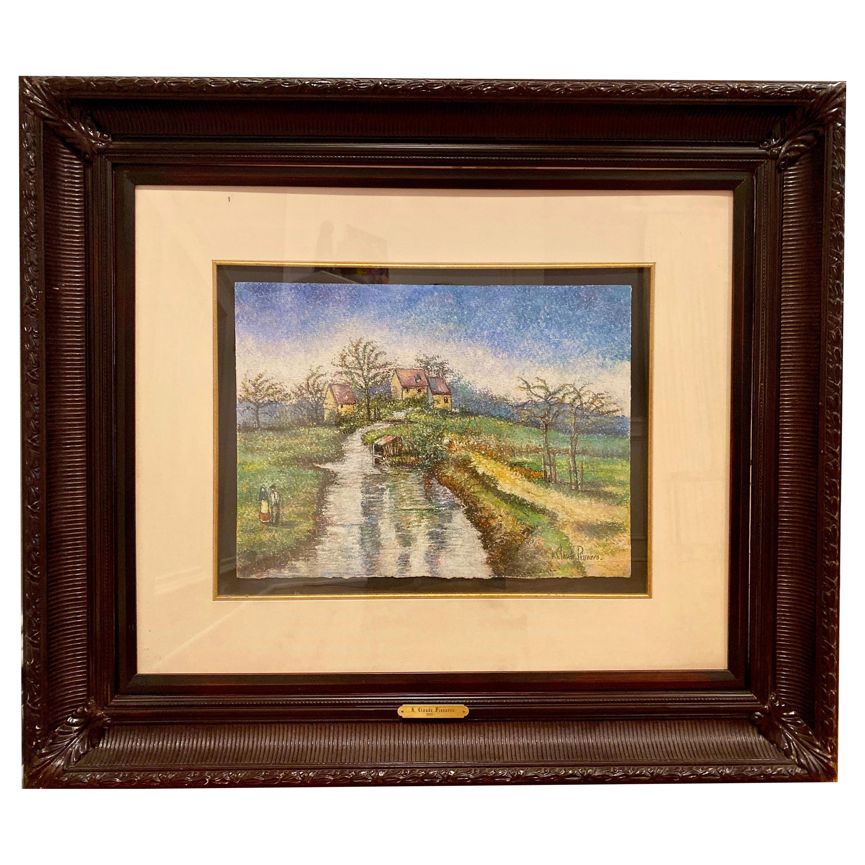 """Hugues Claude Pissarro """"La Ferme et le Potager d' Emilion"""", Pastel on Paper"""