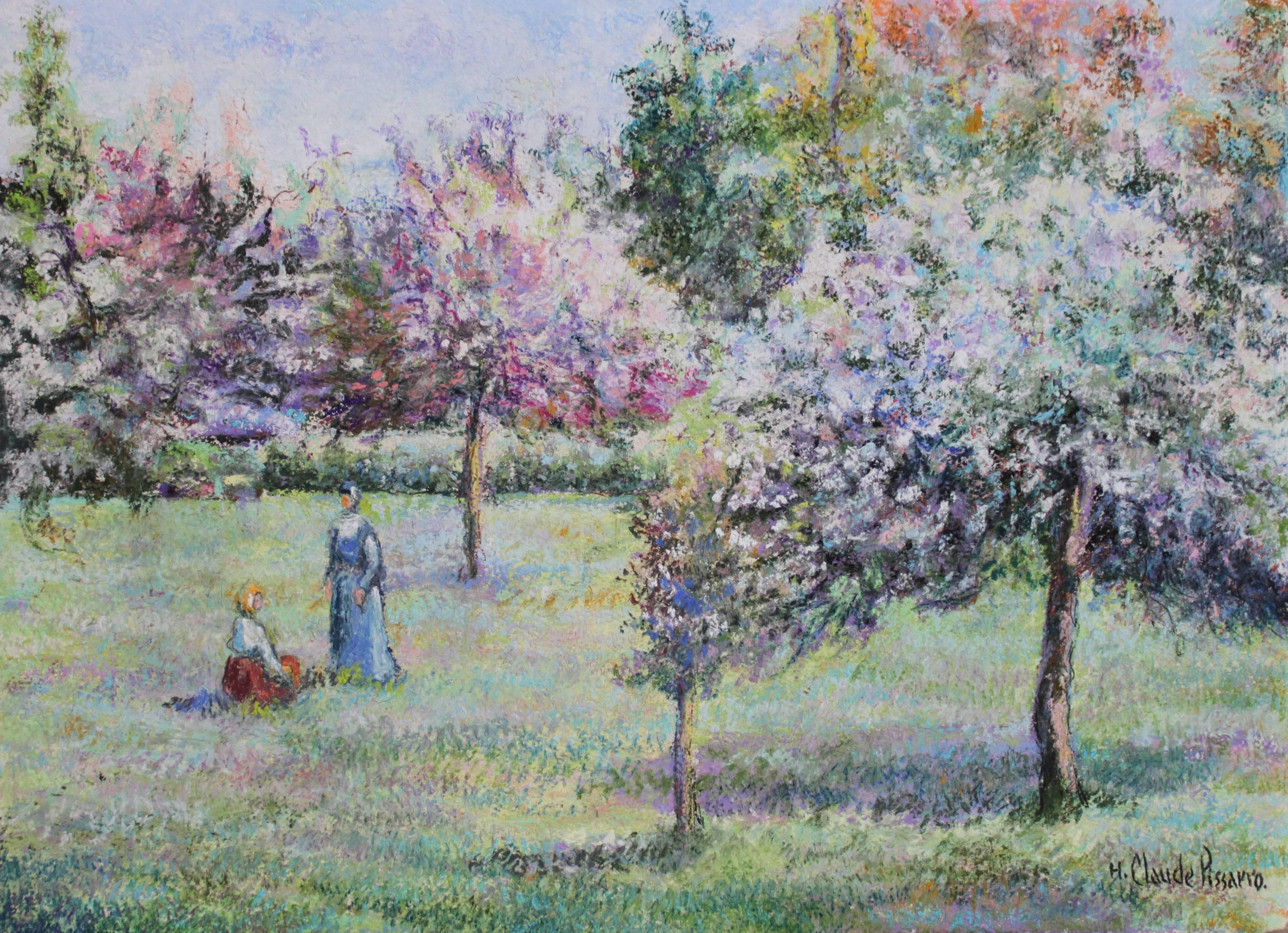 Le Verger by H. Claude Pissarro - Post-Impressionist style pastel on paper