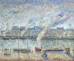 L'embarquement du Sainte Louisa-Paris - 20th Century Oil, Boats by H C Pissarro
