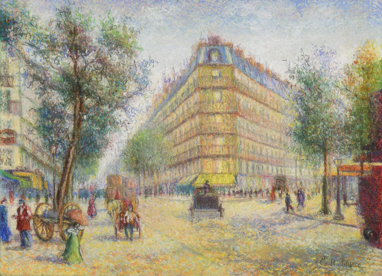 Vue des Grands Boulevards a Paris by H. Claude Pissarro - pastel on paper