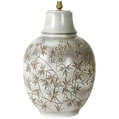 Huguette Bessone Handmade White and Grey Ceramic Table Lamp Decoration