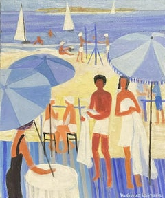 LARGE 20TH CENTURY FRENCH OIL - MODERNIST FAMILY ON BEACH BLUE PARASOLS