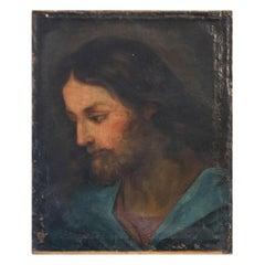 Huile sur toile représentation de Jésus Christ époque XVIIIème