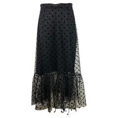 Huishan Zhang Black Polka Dot Midi Skirt, Size 4