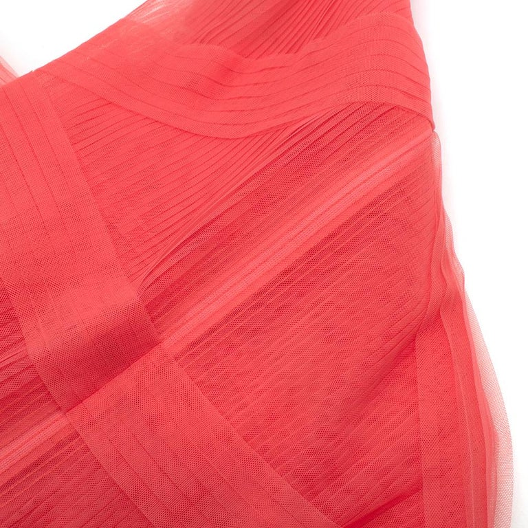 Huishan Zhang Pink Sheer Pearl Embellished Dress - Size US 12 For Sale 6