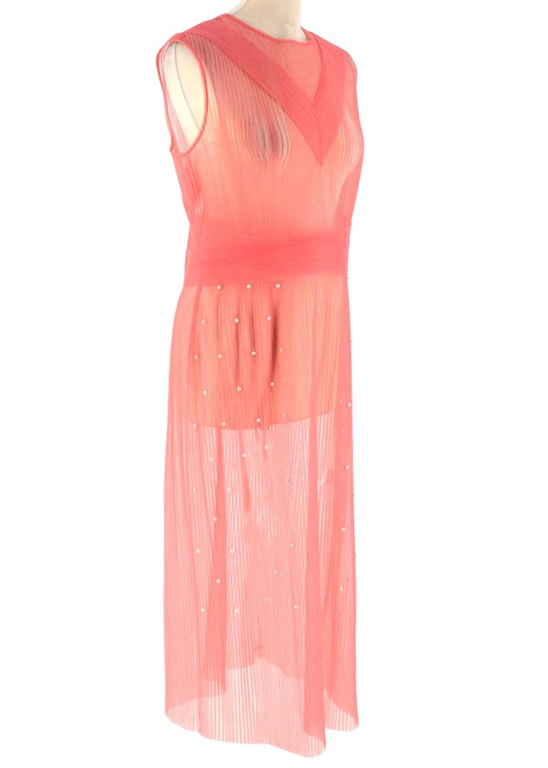 Huishan Zhang Pink Sheer Pearl Embellished Dress  - Pearl embellishment  - Sleeveless - Sheer mesh fabric - Invisible back zip fastening  - Round neck   Materials: Main fabric: - 100% Polyester  Trim: - Imitation Pearl  Hand Wash Only   Made in