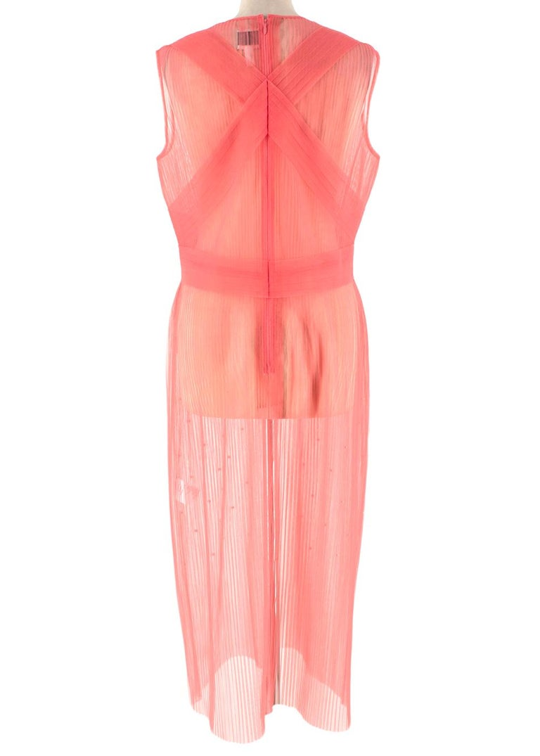 Huishan Zhang Pink Sheer Pearl Embellished Dress - Size US 12 In Excellent Condition For Sale In London, GB