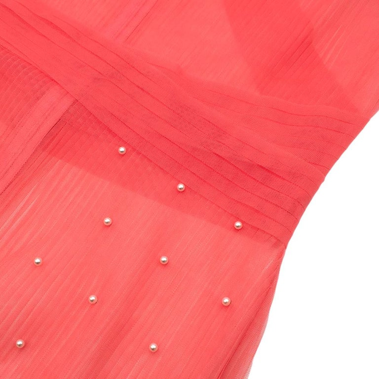 Huishan Zhang Pink Sheer Pearl Embellished Dress - Size US 12 For Sale 3