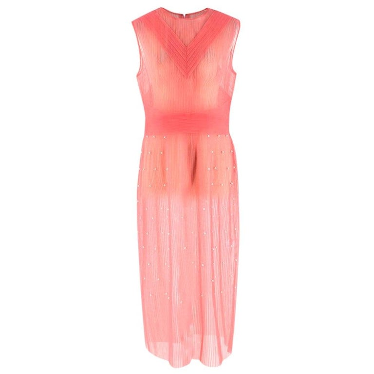 Huishan Zhang Pink Sheer Pearl Embellished Dress - Size US 12 For Sale