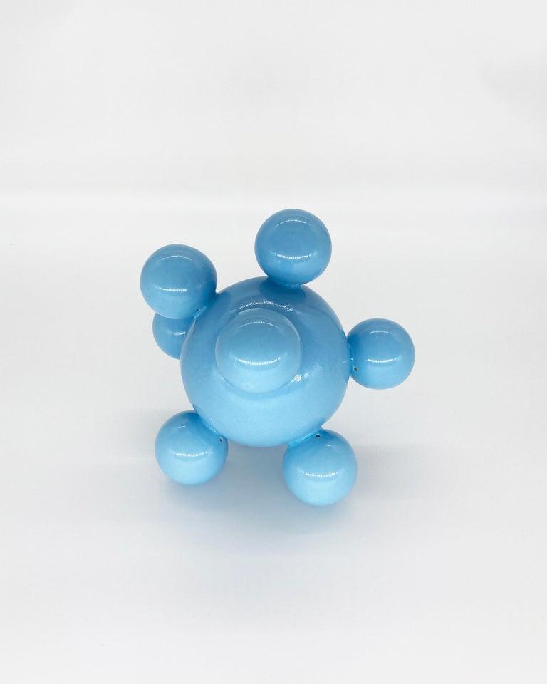 Organic Modern Huitlacoche Bubble Ceramic Vase in Baby Blue, in Stock For Sale