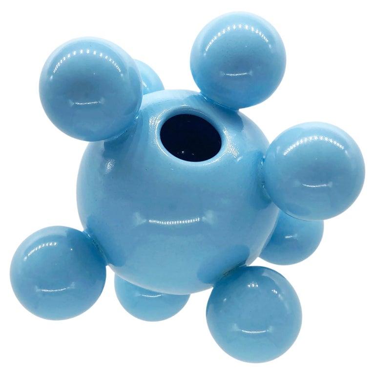 Huitlacoche Bubble Ceramic Vase in Baby Blue, in Stock For Sale