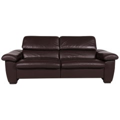 Hukla Leather Sofa Brown Two-Seat Incl. Function