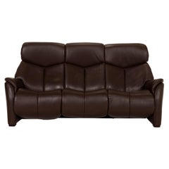 Hukla Nevada Leather Sofa Brown Three-Seater Electric Relaxation Function Dark
