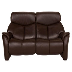 Hukla Nevada Leather Sofa Brown Two-Seater Relaxation Function Dark Brown