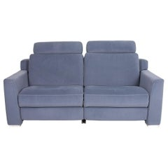 Hukla Sofastyle Fabric Sofa Blue Two-Seater Function Relax Function Couch Sofa