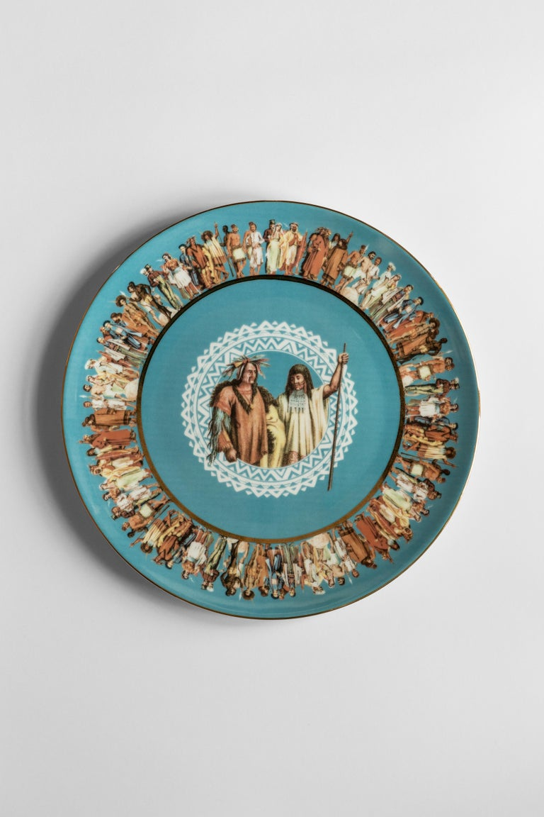 Italian Human Being, Six Contemporary Porcelain Dinner Plates with Decorative Design For Sale