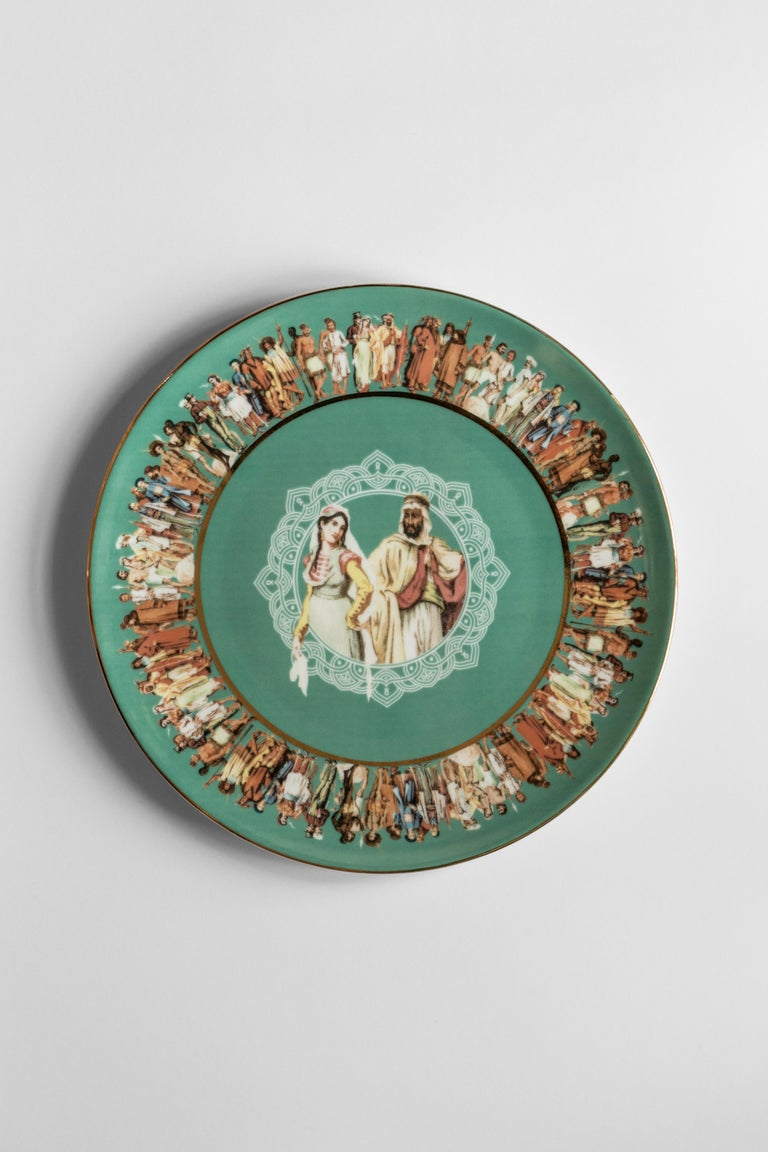 Human Being, Six Contemporary Porcelain Dinner Plates with Decorative Design In New Condition For Sale In Milan, IT