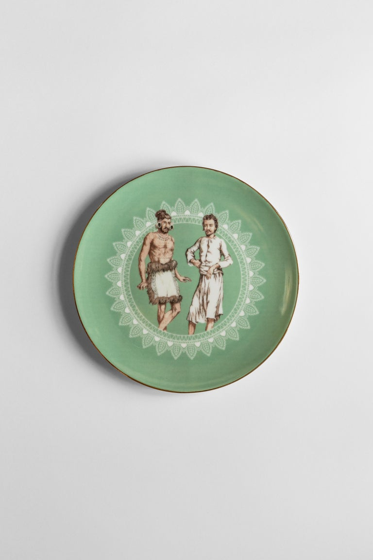 Human Being, Six Contemporary Porcelain Dinner Plates with Decorative Design For Sale 1