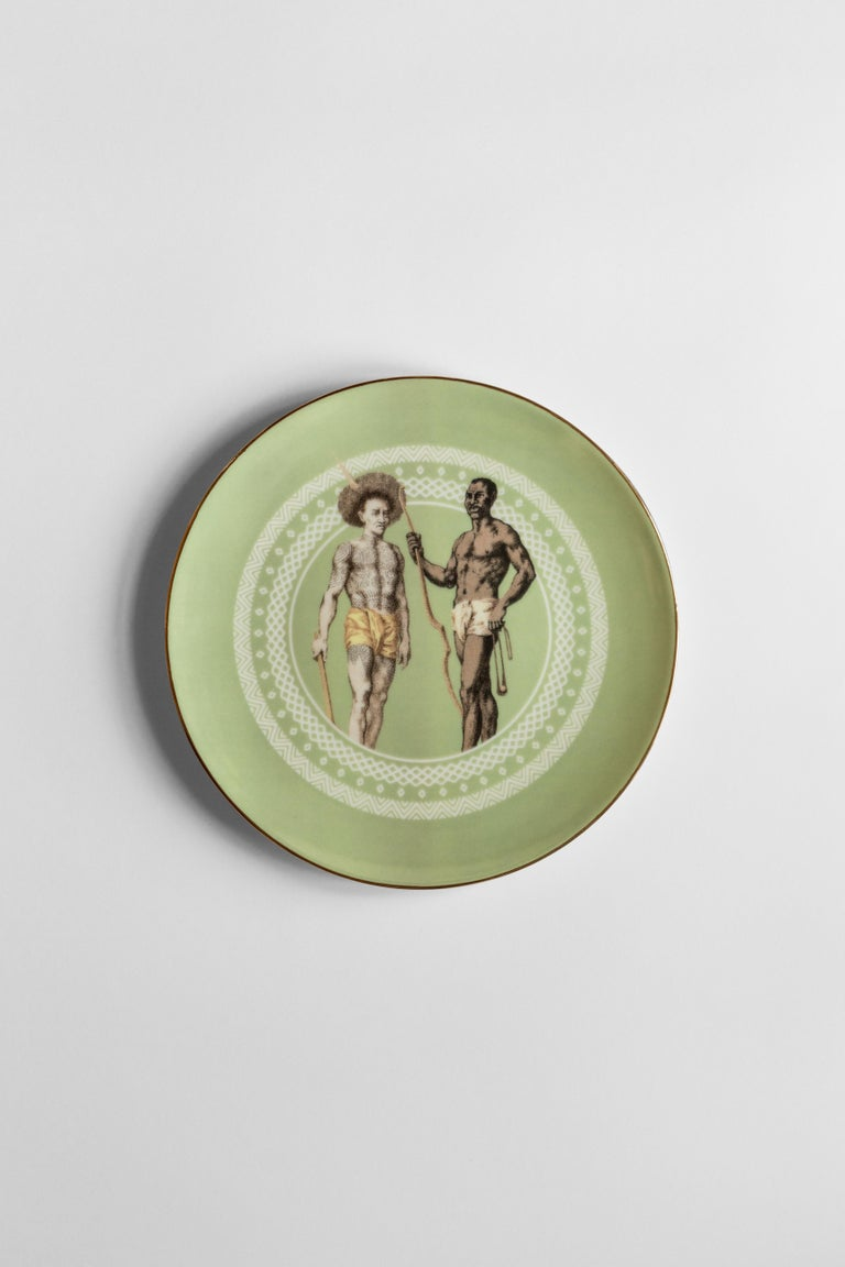 Human Being, Six Contemporary Porcelain Dinner Plates with Decorative Design For Sale 2