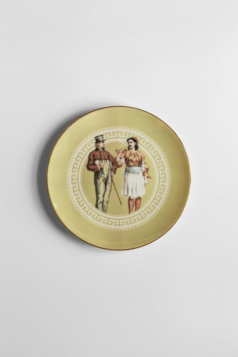 Human Being, Six Contemporary Porcelain Dinner Plates with Decorative Design For Sale 3