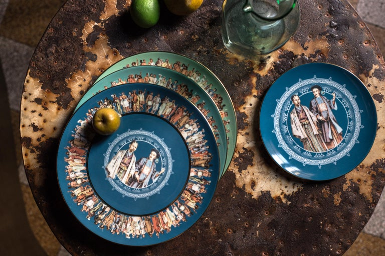 Human Being, Six Contemporary Porcelain Dinner Plates with Decorative Design For Sale 5