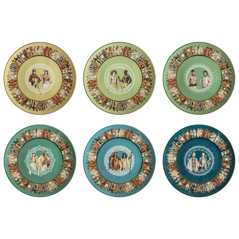 Human Being, Six Contemporary Porcelain Dinner Plates with Decorative Design For Sale