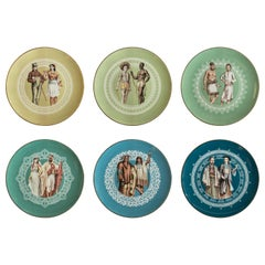 Human Being, Six Contemporary Porcelain Dinner Plates with Decorative Design