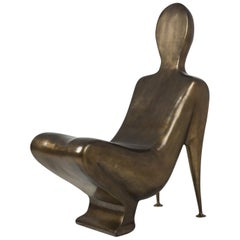 Human Brass Chair in Solid Antique Brass