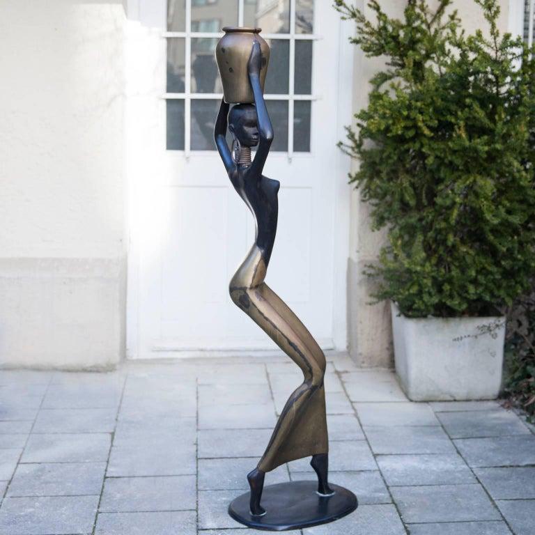 Austrian Human Size African Woman Sculpture Figurine Hagenauer Style, 1950 For Sale