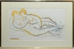 Vintage American Modernist Erotic Nude Women Portrait by Humbert Howard