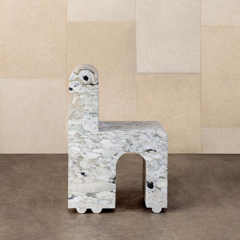 Uniquely carved from stone blocks and straddling the line between sculpture and functional design, the Hume chair can be used as both an indoor or outdoor decorative seating option. Each piece is hand carved from natural stone and is available in