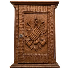 Cigar Humidor, Estate Pipe Wall Cabinet, Black Forest Brienz Wood Carved Antique