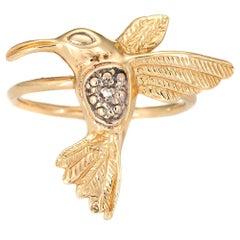 Hummingbird Conversion Ring Diamond Vintage 14 Karat Gold Estate Fine Jewelry