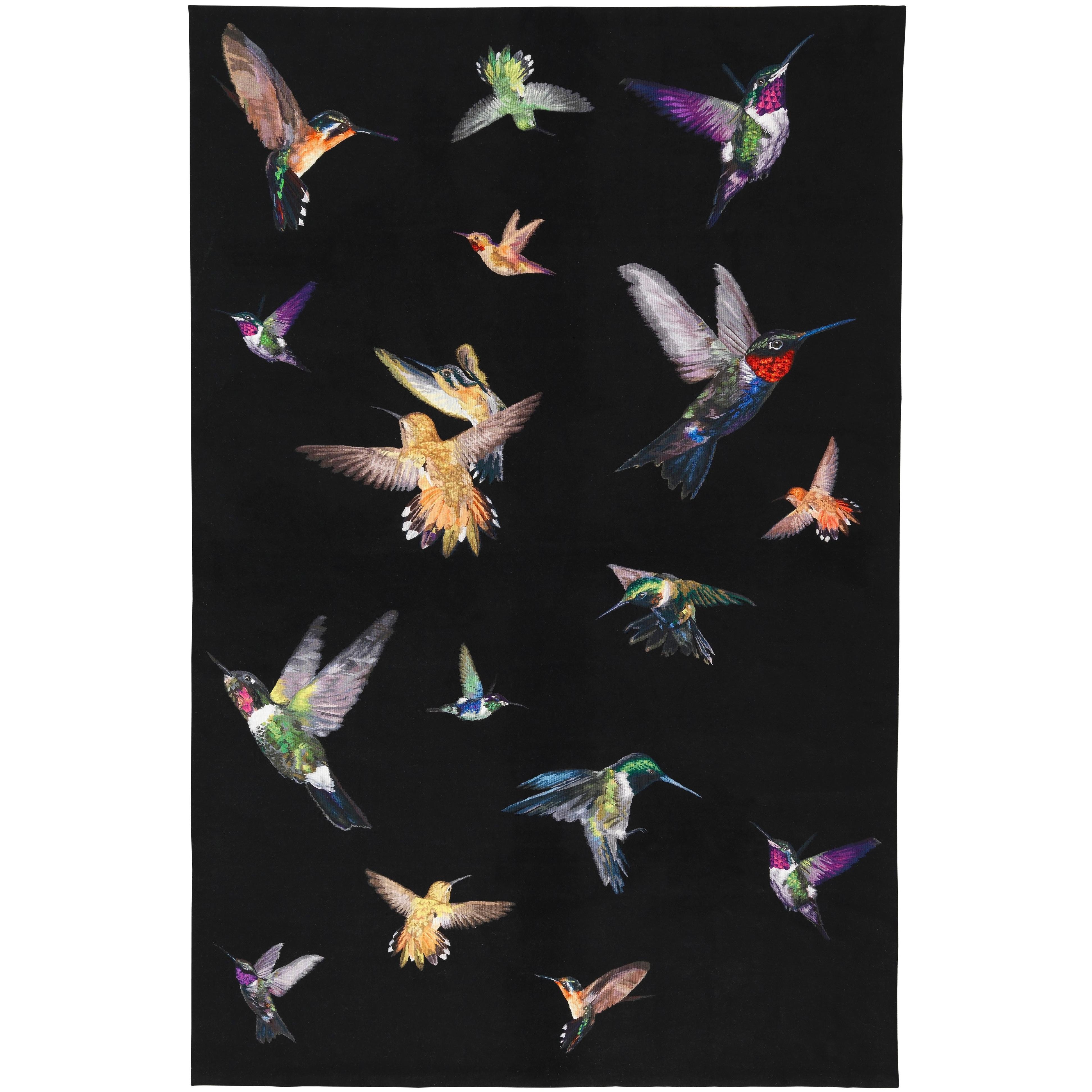 Hummingbird Handwoven 10x8 Rug in Silk by Alexander McQueen