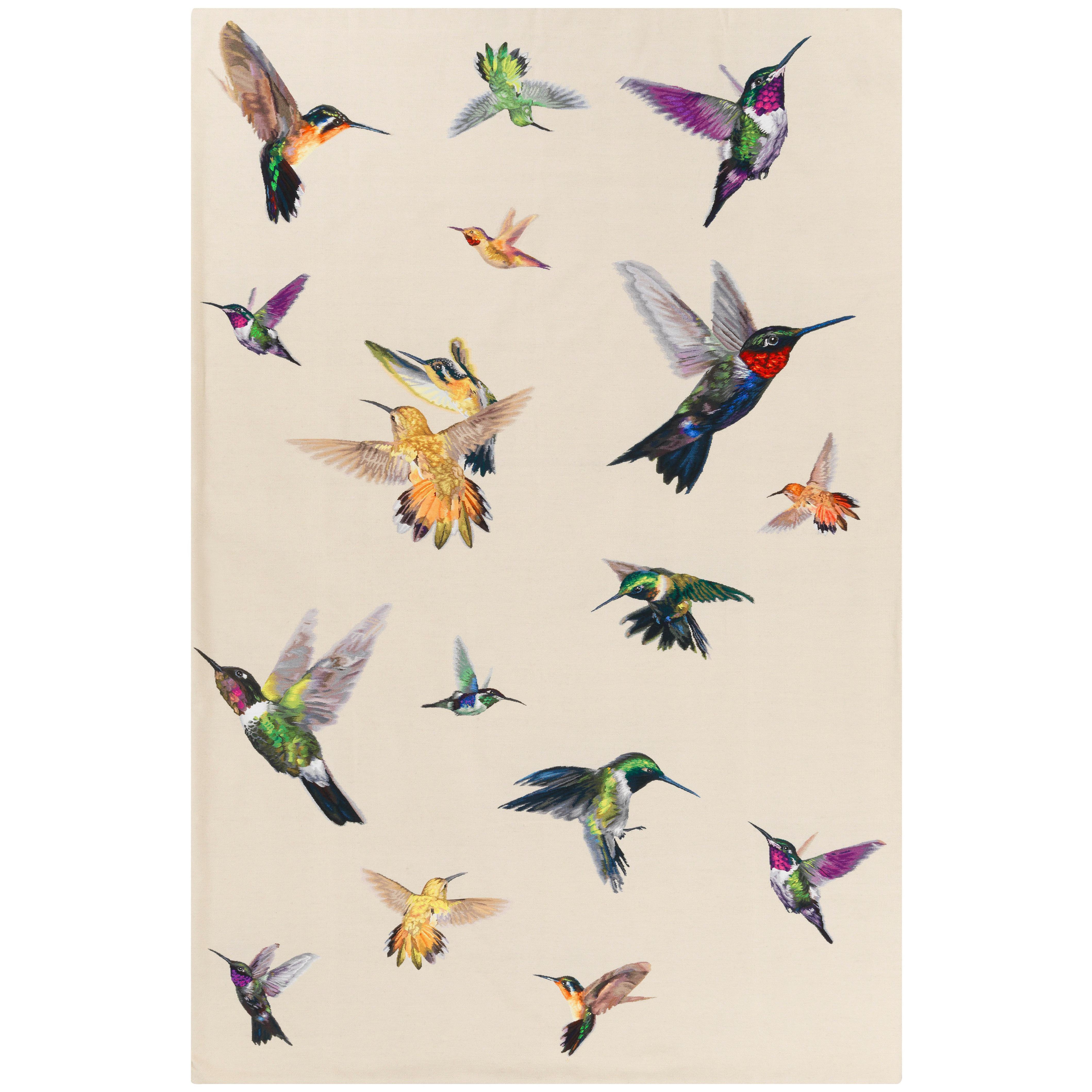 Hummingbird Ivory Handwoven 10x8 Rug in Silk by Alexander McQueen