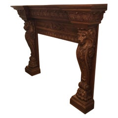 Humongous English Style Custom Carved Wood Lion Mantelpiece
