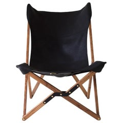 Humphrey Chair, Pecan Wood and Leather Folding Chair 'Black'