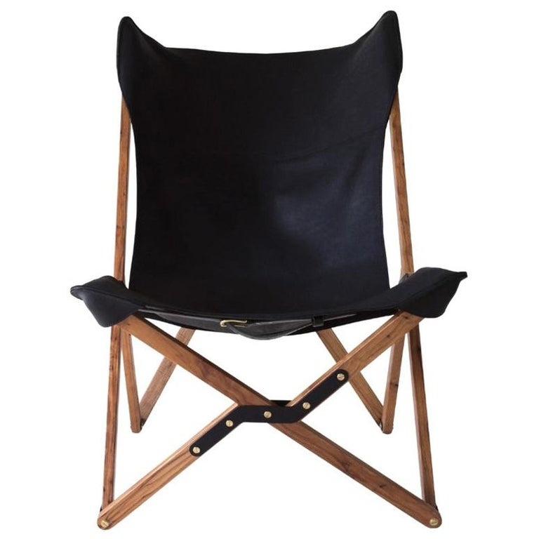 Humphrey Chair, Pecan Wood and Leather Folding Chair 'Black' For Sale