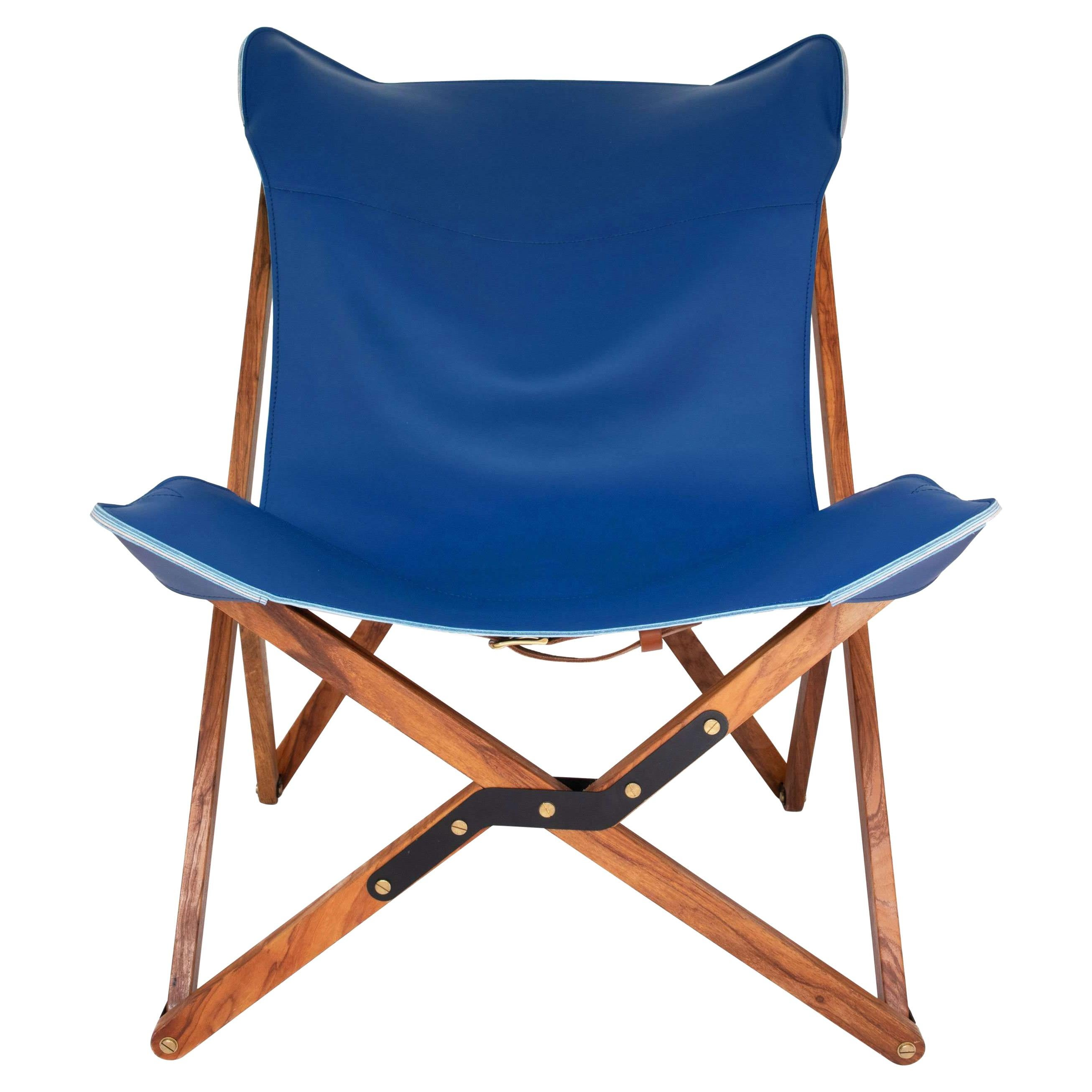 Humphrey Chair, Pecan Wood and Leather Folding Chair 'Blue'