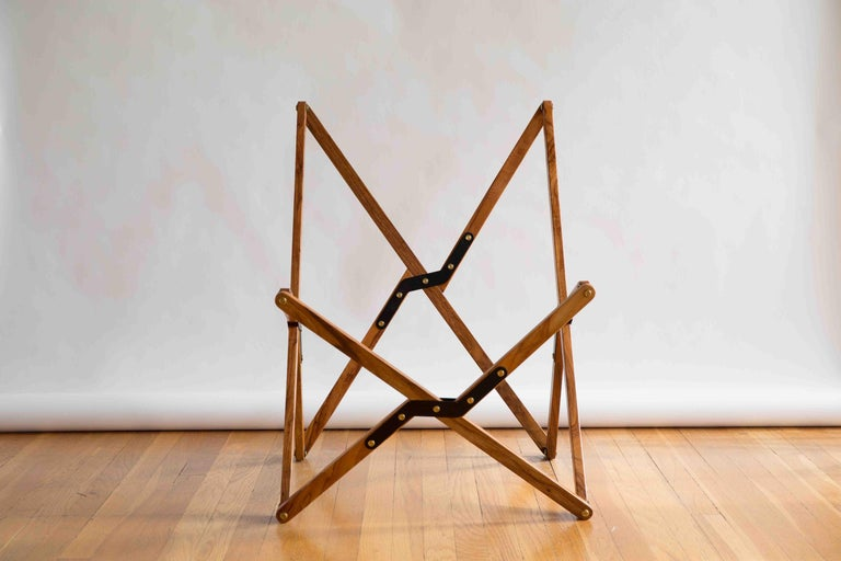 Brass Humphrey Chair, Pecan Wood and Leather Folding Chair 'Brown' For Sale