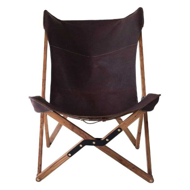 Humphrey Chair, Pecan Wood and Leather Folding Chair 'Brown' For Sale