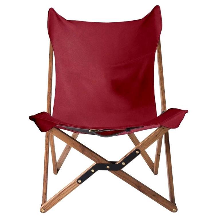 Humphrey Chair, Pecan Wood and Leather Folding Chair 'Fuschia'